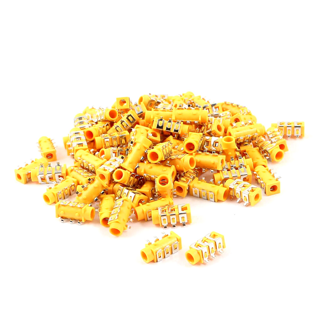 100 Pcs Orange MP3 Earphone Headset 6-Pin PCB 3.5mm Female Jack Socket