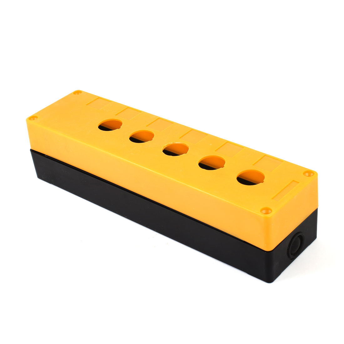 Plastic 5 Hole Design Electronic DIY Junction Box Orange Black 278 x 70 x 64mm