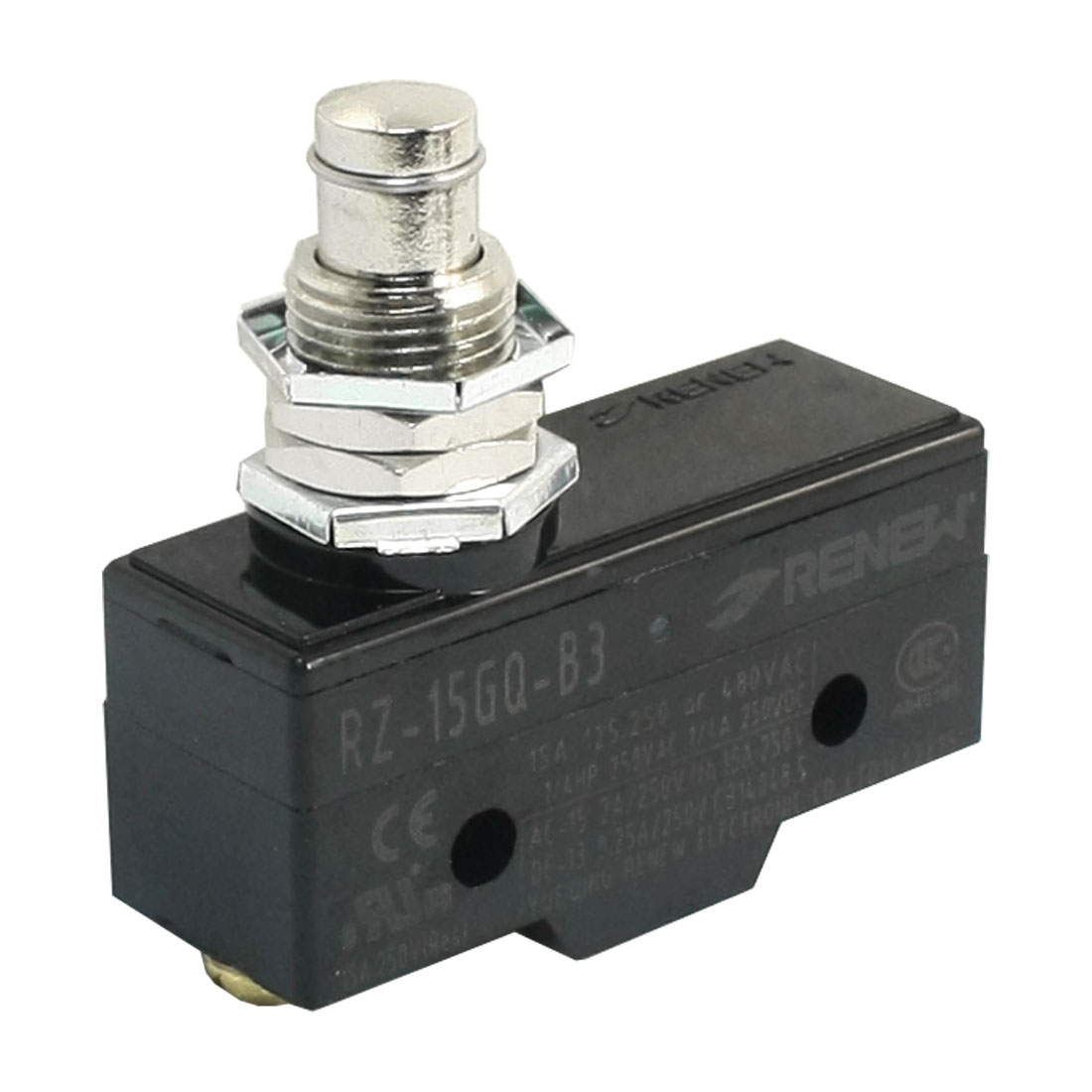 AC250V 15A 12mm Thread Panel Mounting SPDT 1NO 1NC 3 Screw Terminals Momentary Push Plunger Type Micro Switch
