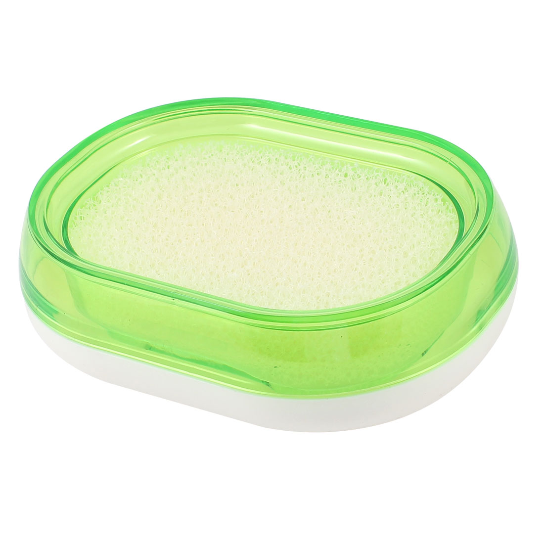 Bathroom Green White Plastic Dual Layer Soap Holder Dish Case Box