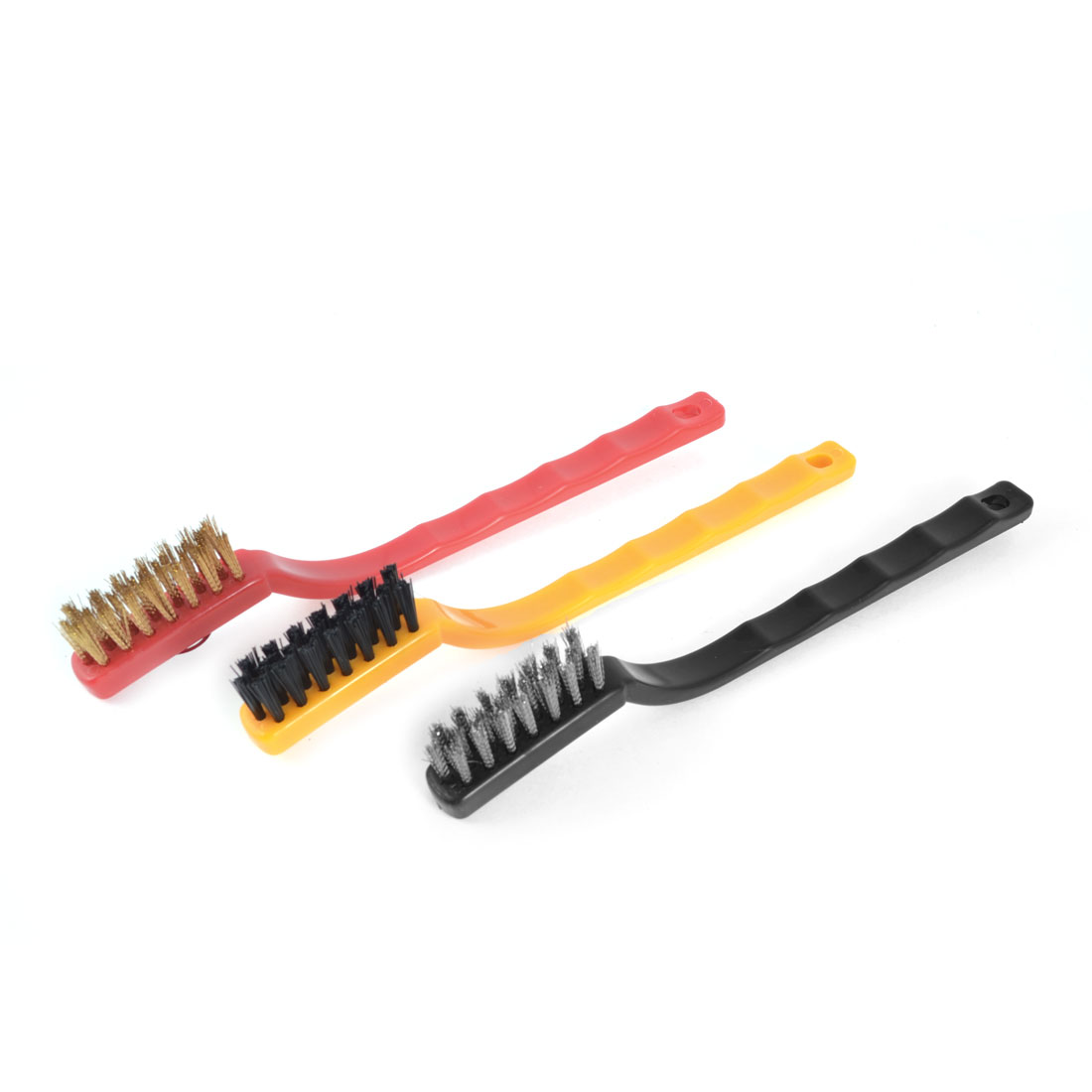 3 Pcs Vehicle Car Plastic Handle Tri Colors Metal Wire Cleaning Brushes Tool