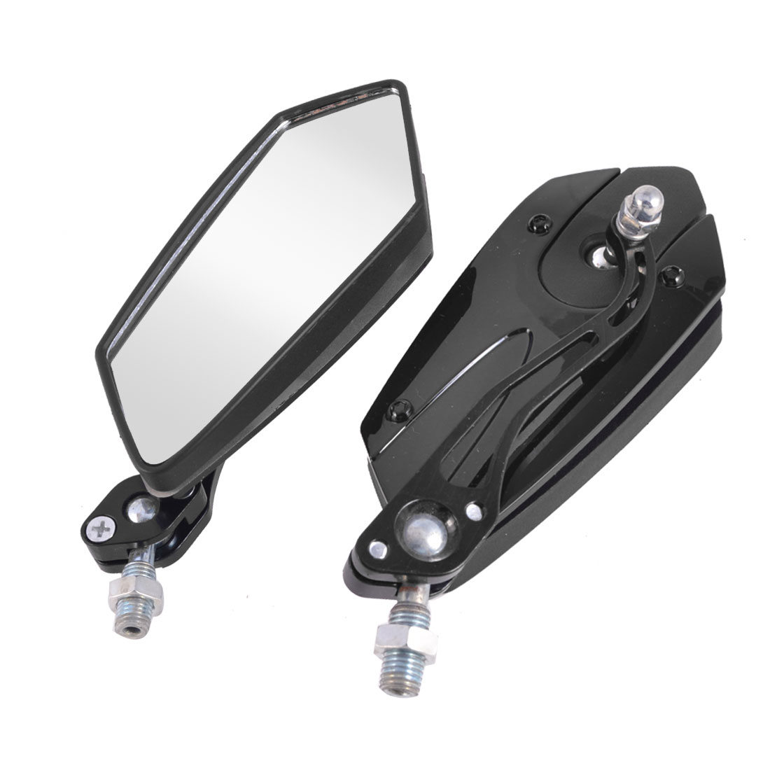 Pair Black Shell Polygon Shaped Motorcycle Adjustable Blind Spot Rear View Mirror