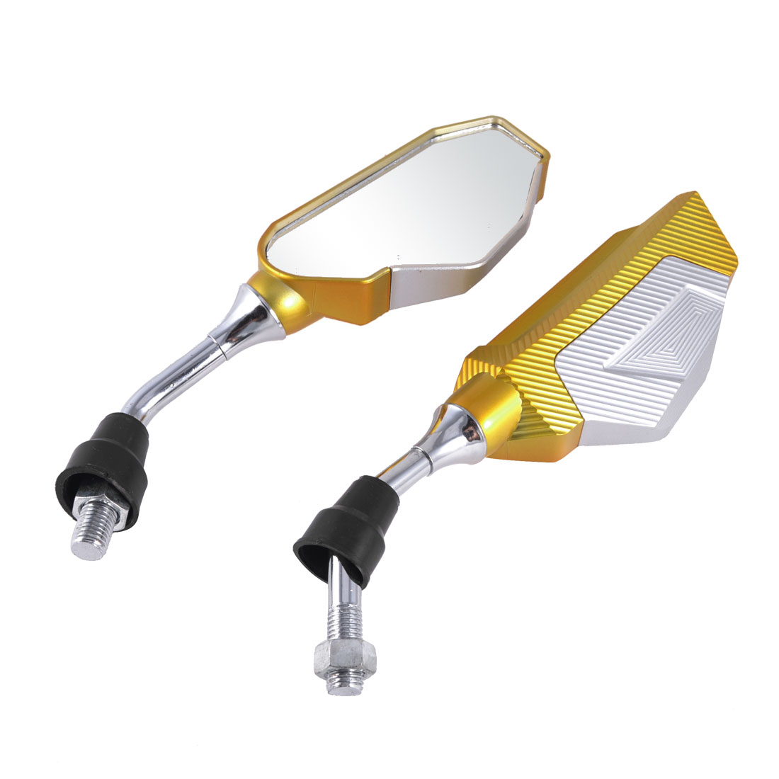 Gold Silver Tone Casing Motorcycle Rear View Blind Spot Mirror 2 Pcs
