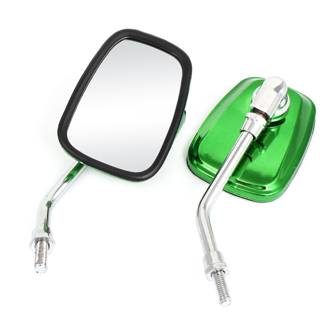 Pair Green Casing Vision Rectangular Bar End Motorcycle Rear View Spot Mirror