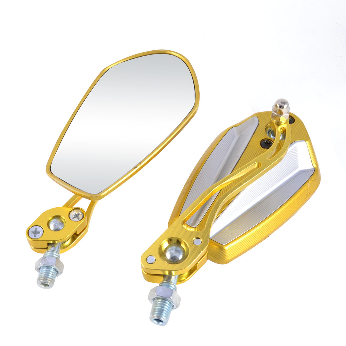 Pair Silver Gold Tone Polygon Shaped Rearview Mirrors for Motorbike Scooter