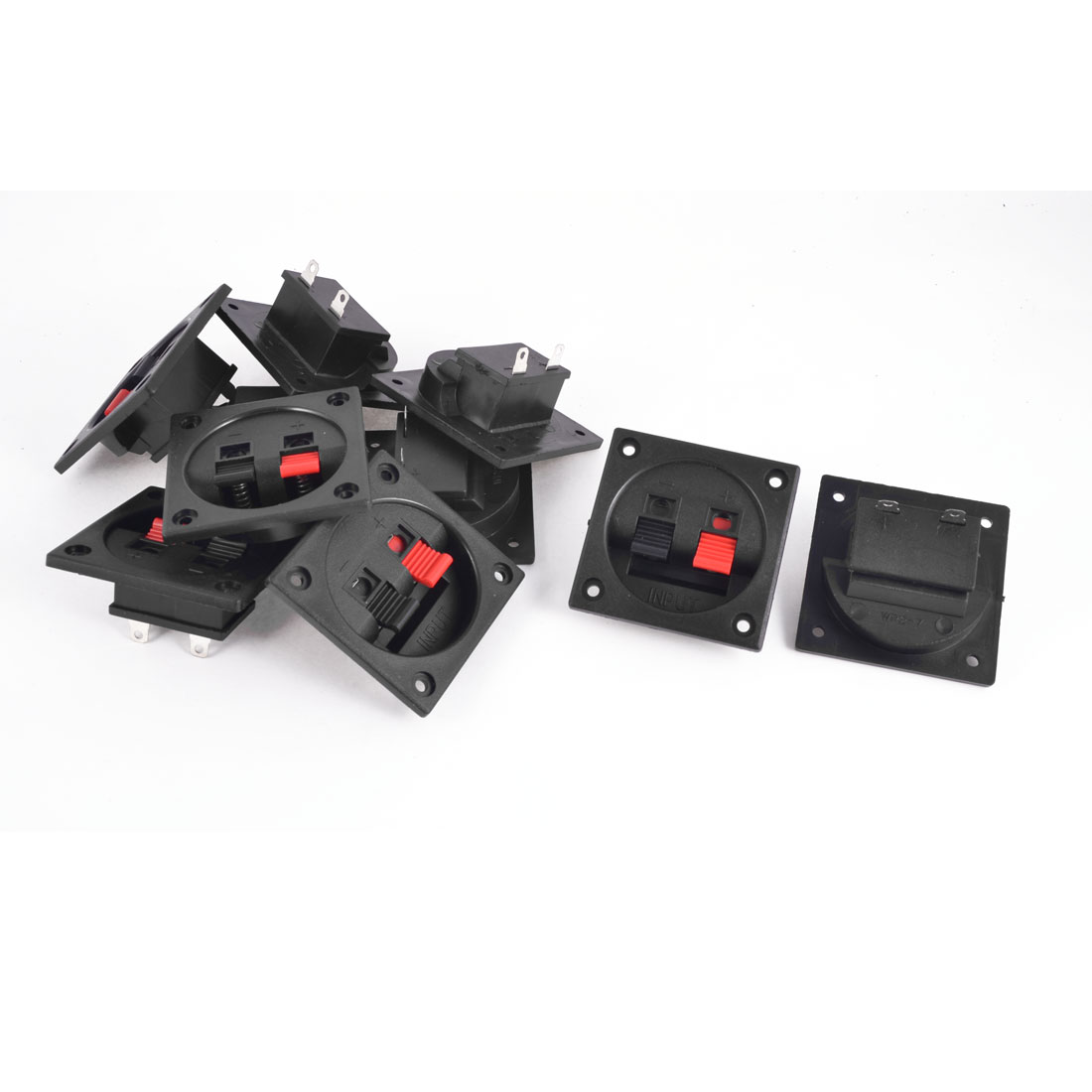 10 Pcs Plastic Square Shape 2 Position Spring Clip Audio Speaker Terminals Red Black