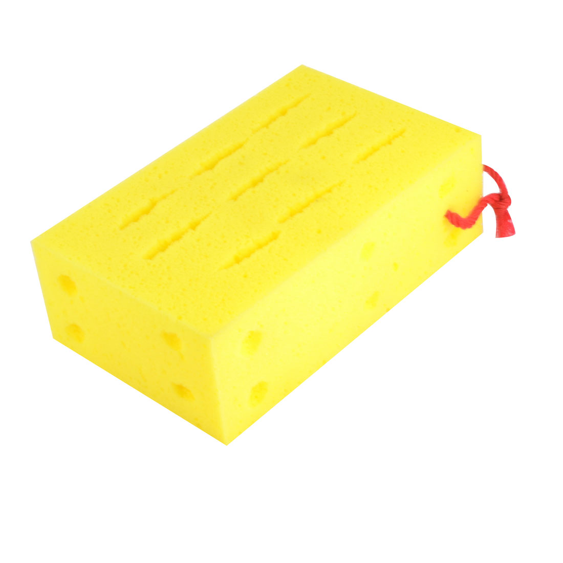 Yellow Rectangular Sponge Pad Mat Cleaning Polishing Tool 18 x 11 x 6cm for Car