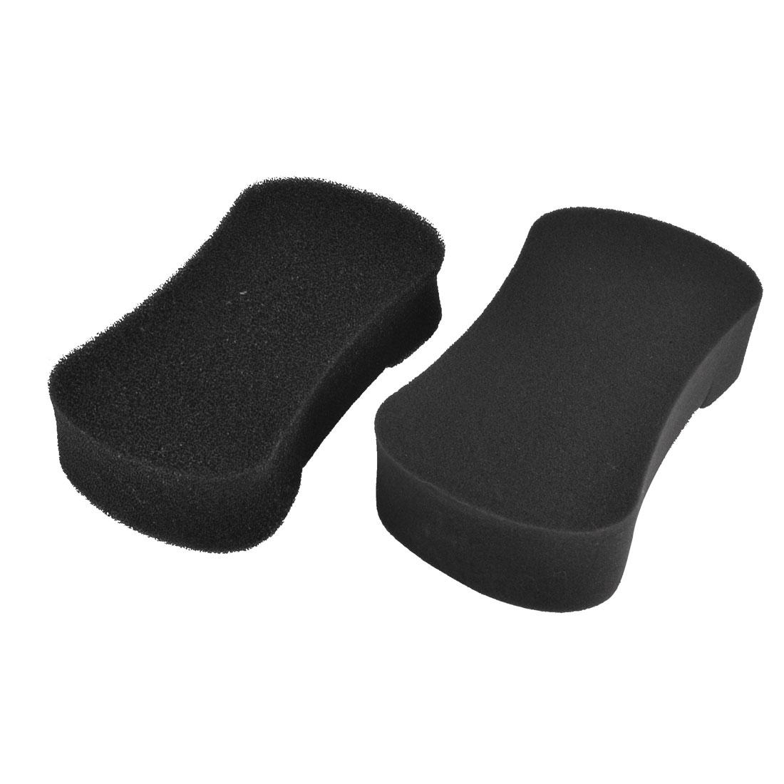 2 Pcs Black Bone Shape Soft Sponge Car Glass Washing Cleaning Pad Cushion