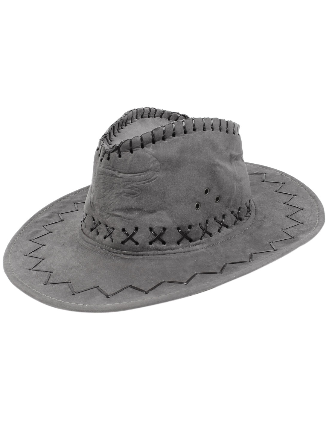 Lady Faux Suede Winding Floral Pattern 12cm Depth Multi-eyelets Cord Lock Adjustable Chin Strap Summer Travel Cowboy Hat Gray