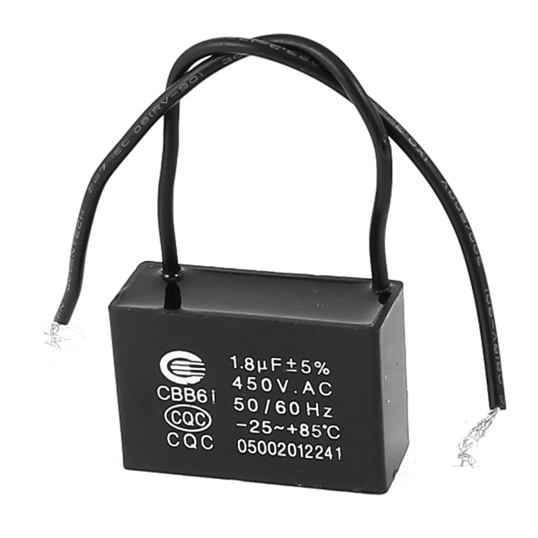 Polypropylene Film Wired Motor Run Capacitor AC 450V 1.8uF CBB61 Black