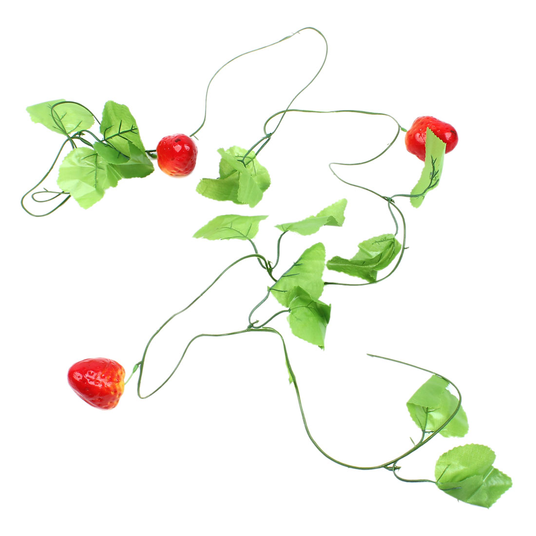 2.3M Green Fabric Leaf Red Yellow Strawberry Hanging Vine