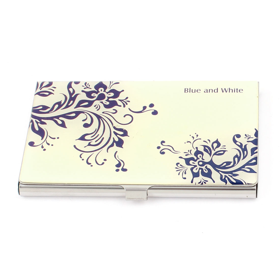 Purple White Metal Flower Print Coated Rectangle Business Card Case Holder