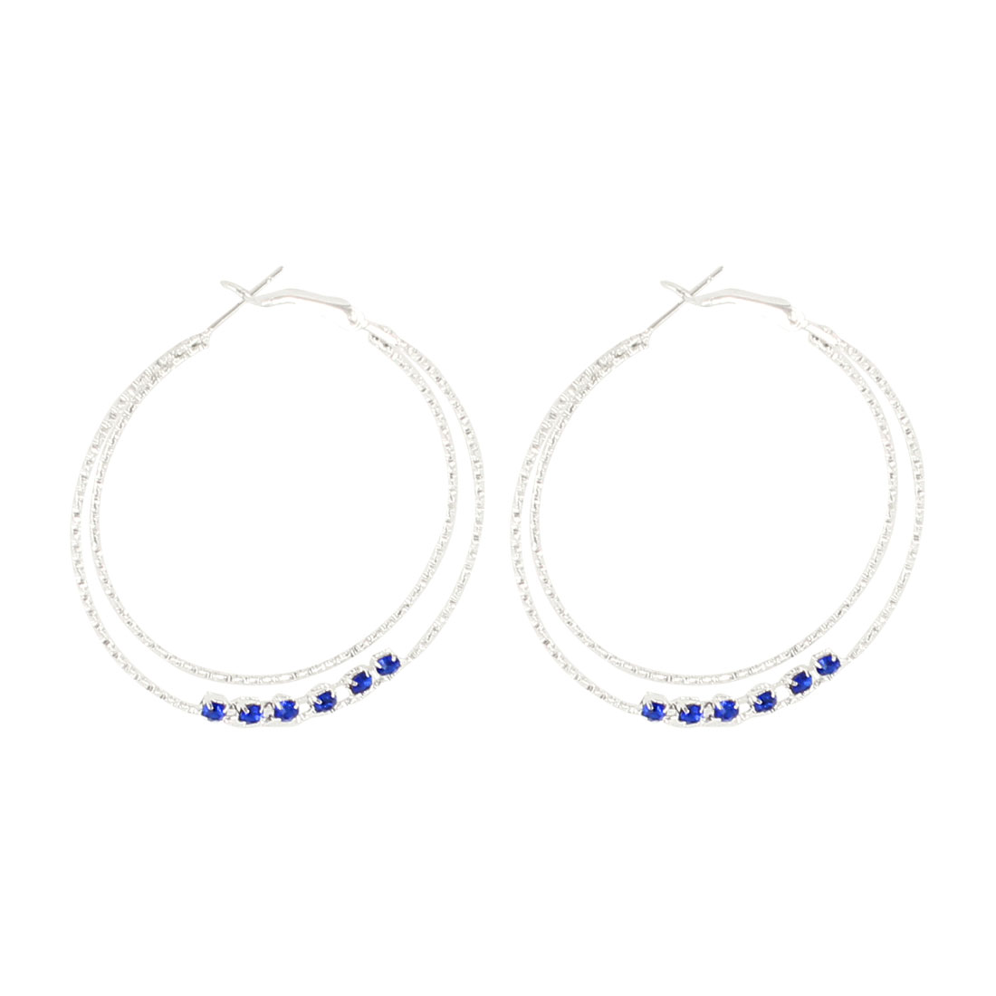 Pair 4.8cm Dia Blue Faux Crystal Detail Silver Tone Metallic Spring Hoop Earrings Eardrop for Lady