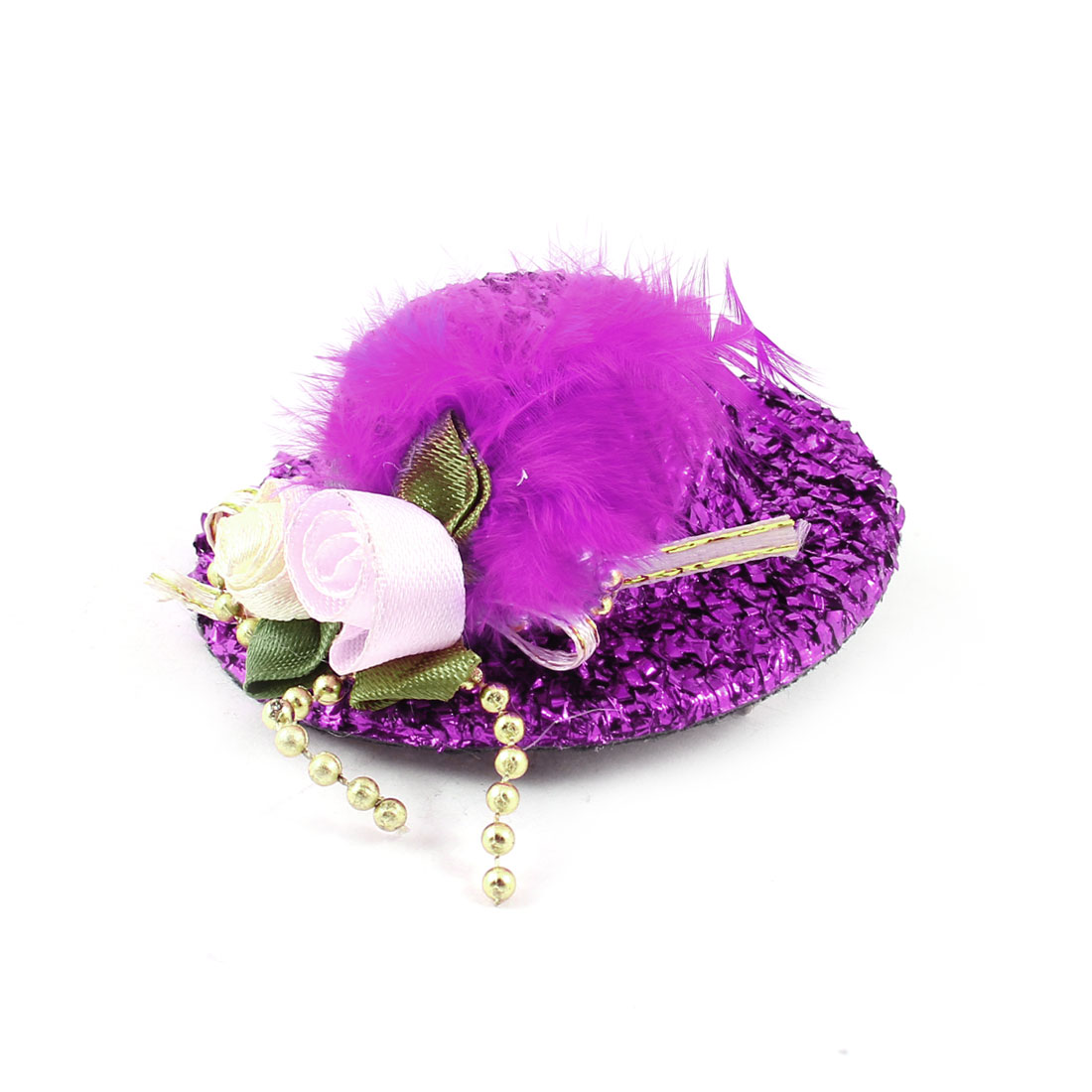 Feather Flower Detail Purple Hat Cap Design Metal Single Prong Alligator Clip Hairclip for Girl