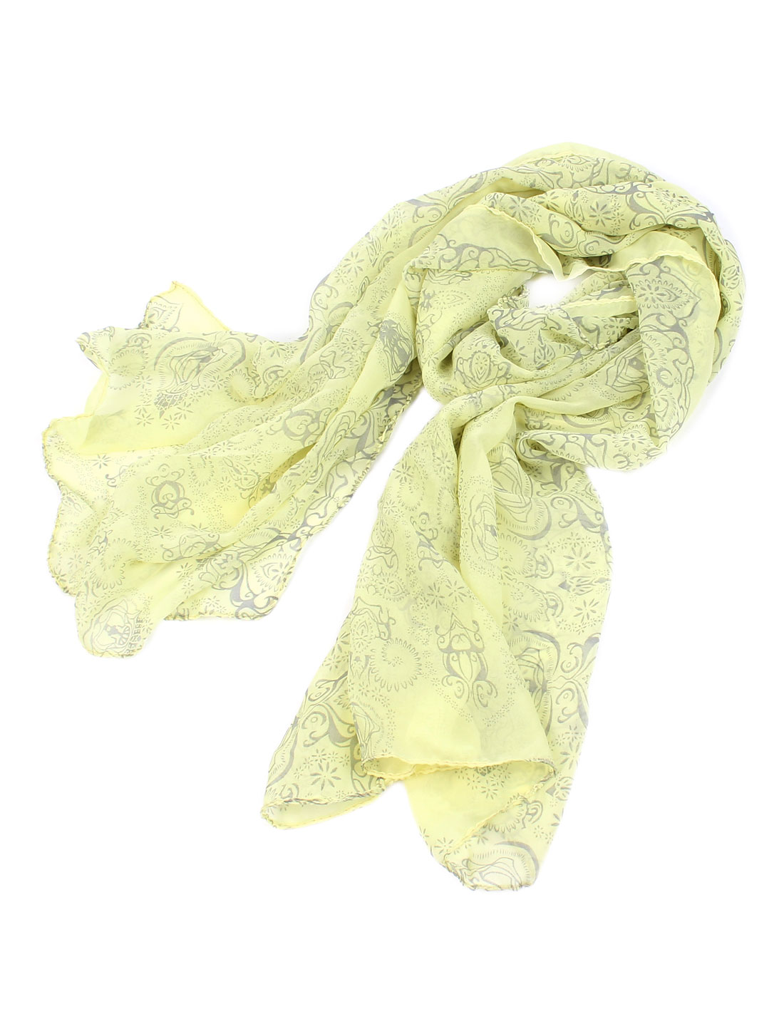 Women Soft Gauze Flower Pattern Long Scarf Shoulder Wrap Shawl Yellow Gray