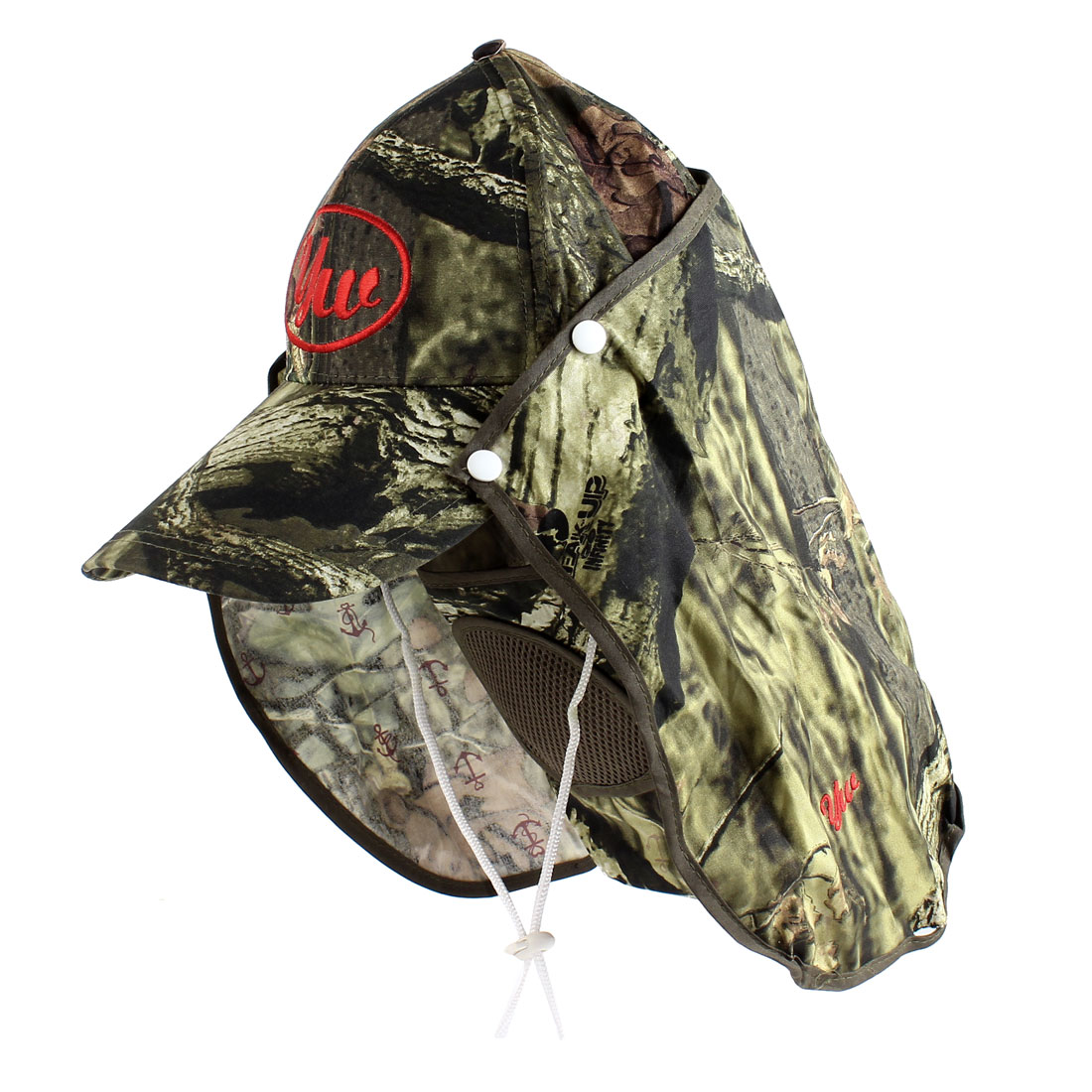 Camouflage Pattern Detachable Neck Flap Fishing Hat Cap Army Green