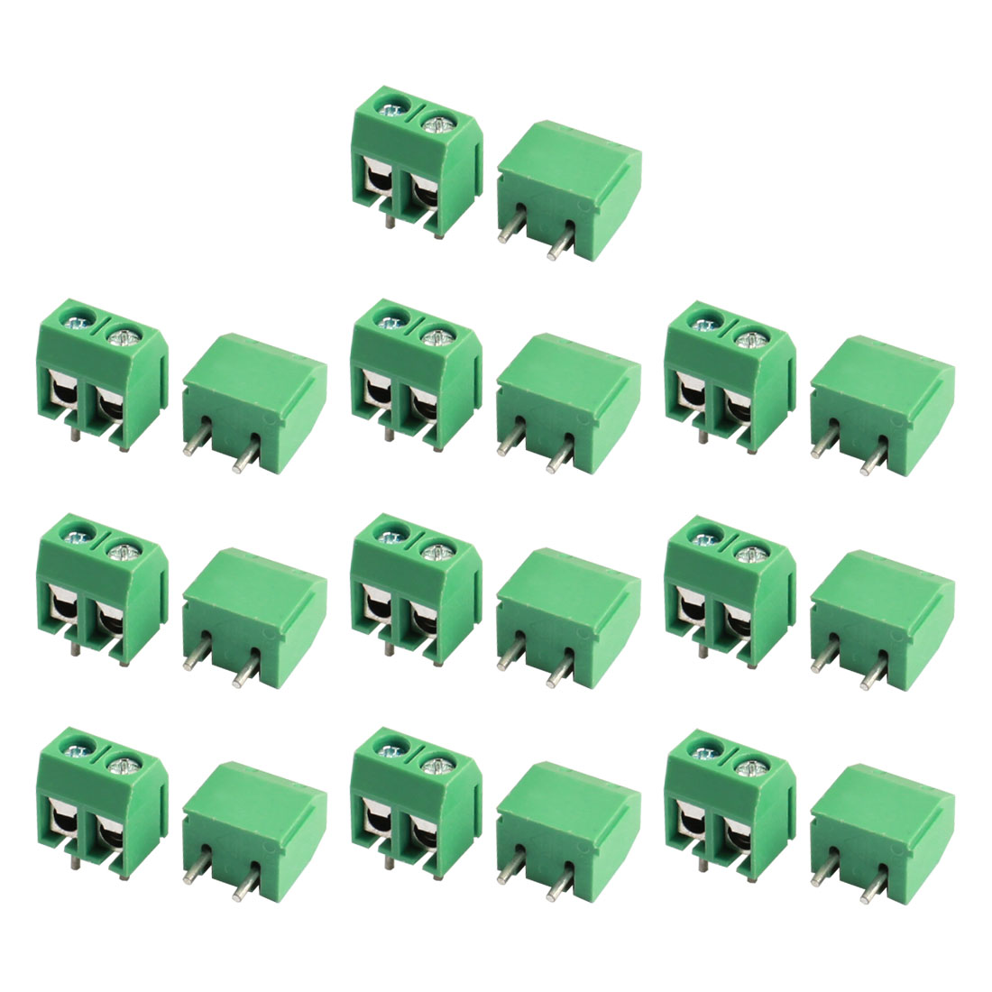 20Pcs 12A 300V 2Way Barrier Screw Terminal Block Connector 5.08mm Pitch Green