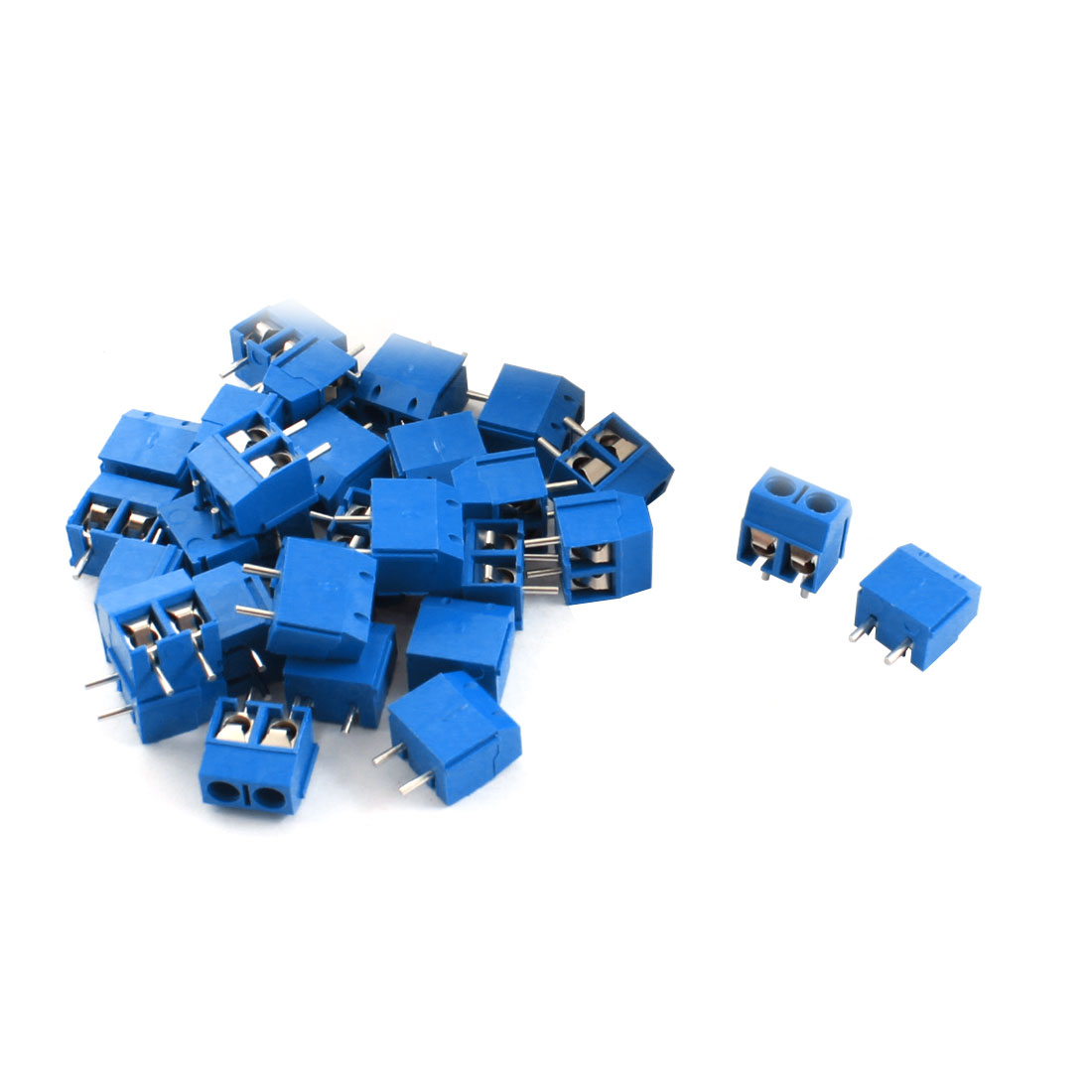 50Pcs 12A 300V 2Pole Barrier Screw Terminal Block Connector 5.08mm Pitch Blue