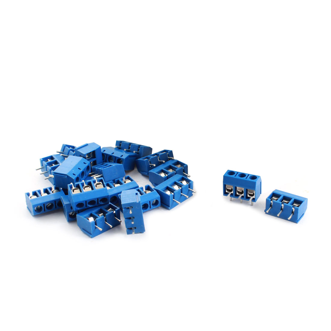 20Pcs 3 Pin 5.08mm Pitch PCB Board Mount Screw Terminal Block 12A 300V Blue