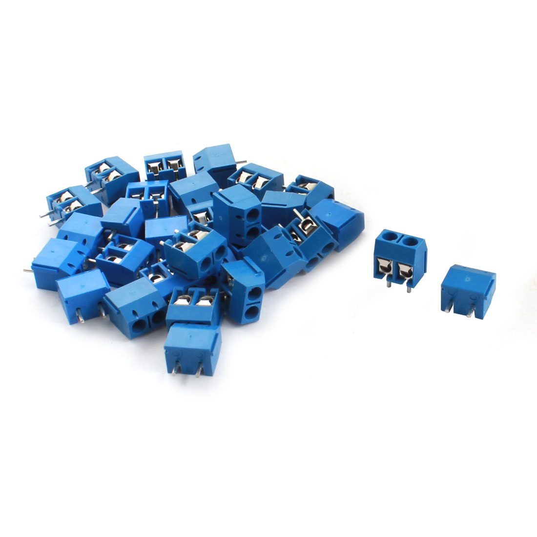30Pcs 5.08mm Pitch 2 Position PCB Power Screw Terminal Block Connector Blue
