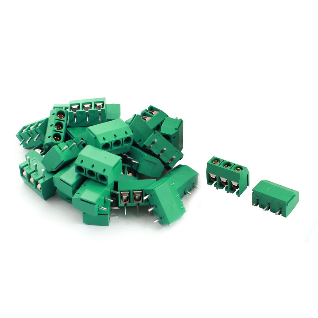 30Pcs 12A 300V 3 Way Barrier Screw Terminal Block Connector 5.08mm Pitch Green