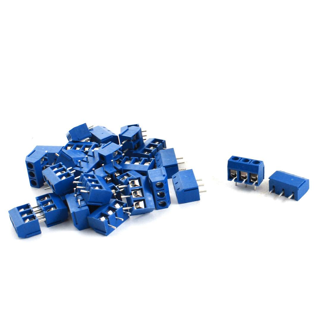 30Pcs 3 Pin 5.08mm Pitch PCB Board Mount Screw Terminal Block 12A 300V Blue