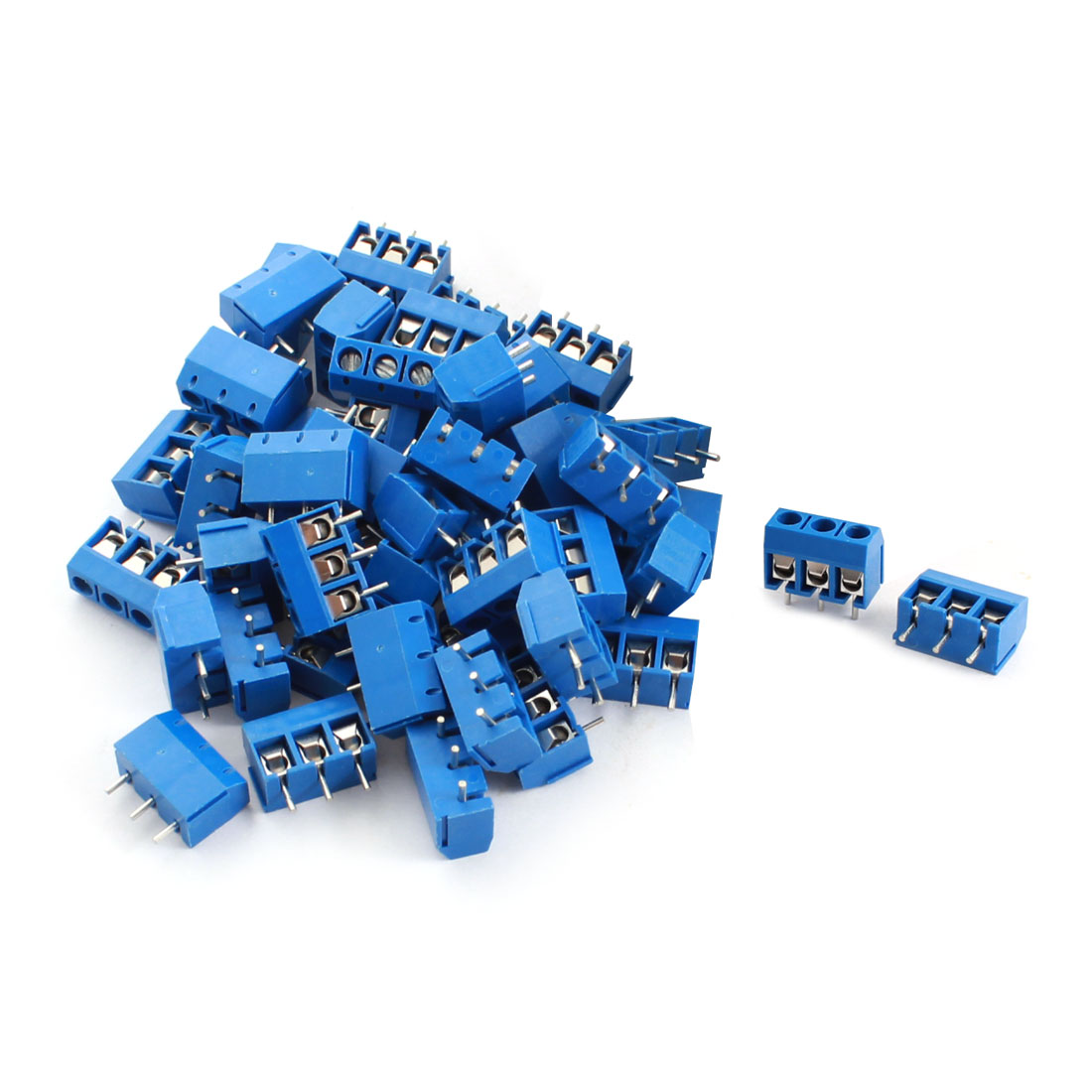 50Pcs 3 Pin 5.08mm Pitch PCB Board Mount Screw Terminal Block 12A 300V Blue