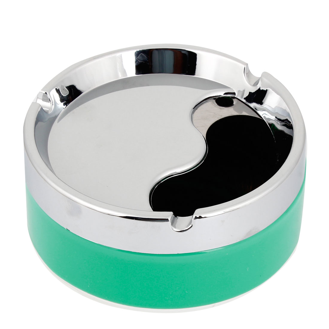 Silver Tone Rotation Lid Round Shaped Cigarette Smoking Ashtray Green