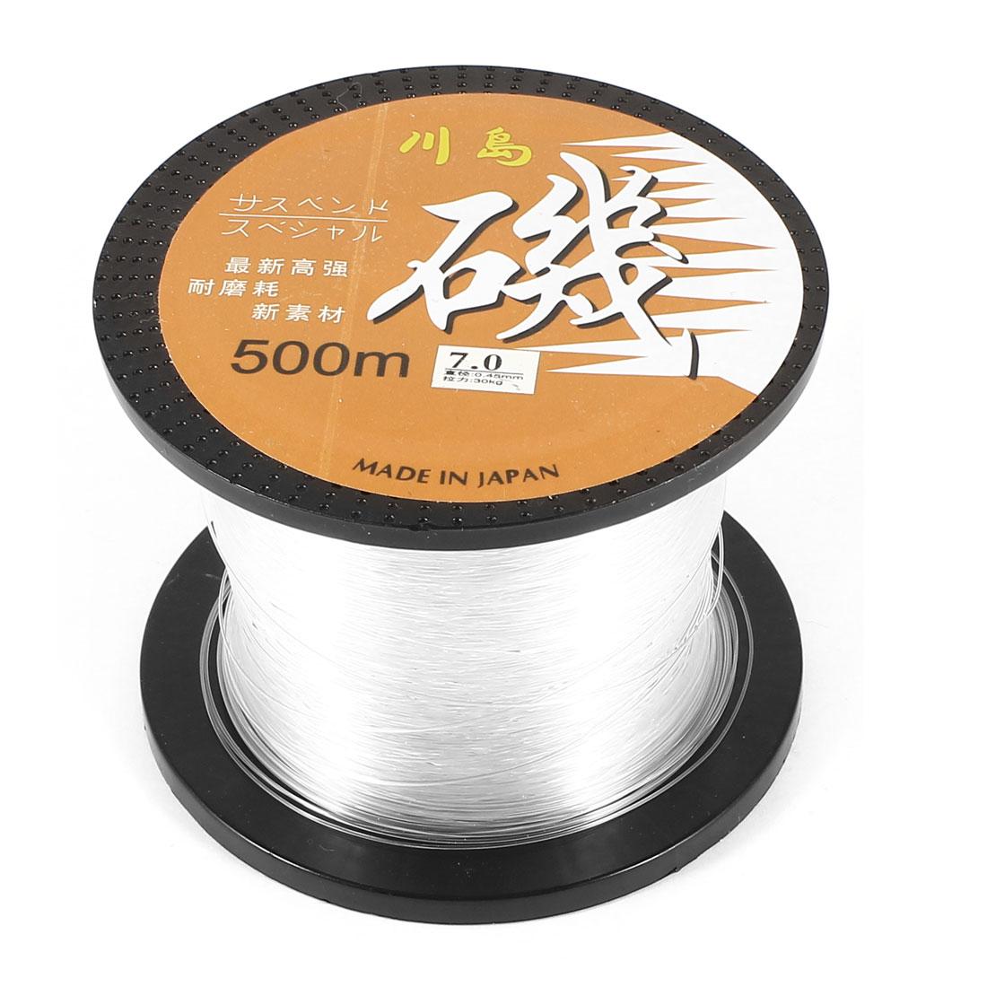 7.0# Clear Nylon Thread 0.45mm Dia 30Kg Fishing Line Spool 500M