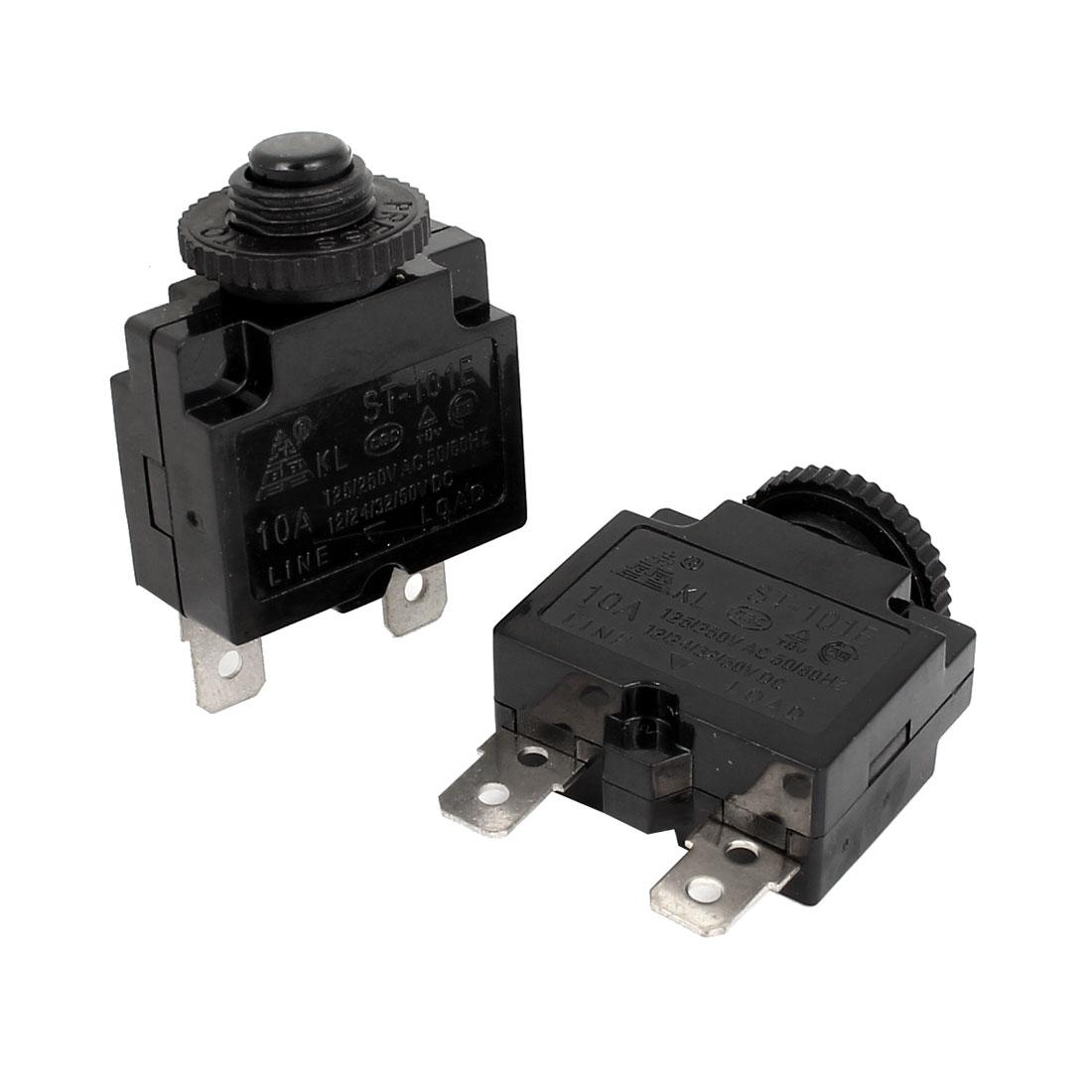 AC 125/250V 10A Plastic Circuit Breaker Overload Protector Black 2pcs