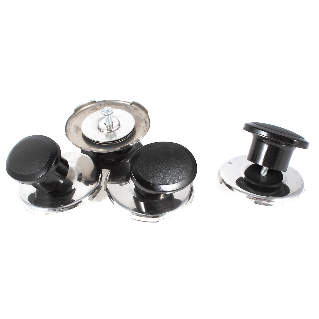 Black Silver Tone Oval Shape Plastic Grip Cookware Lid Cover Knob 4 Pcs