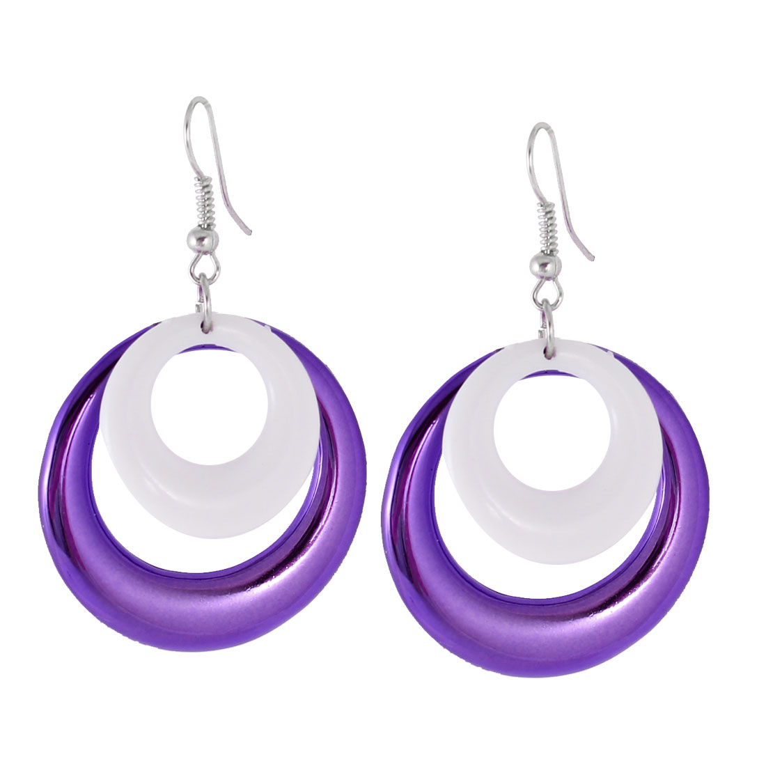 Pair Purple White Double Loop Design Pendant Fish Hook Earrings for Lady
