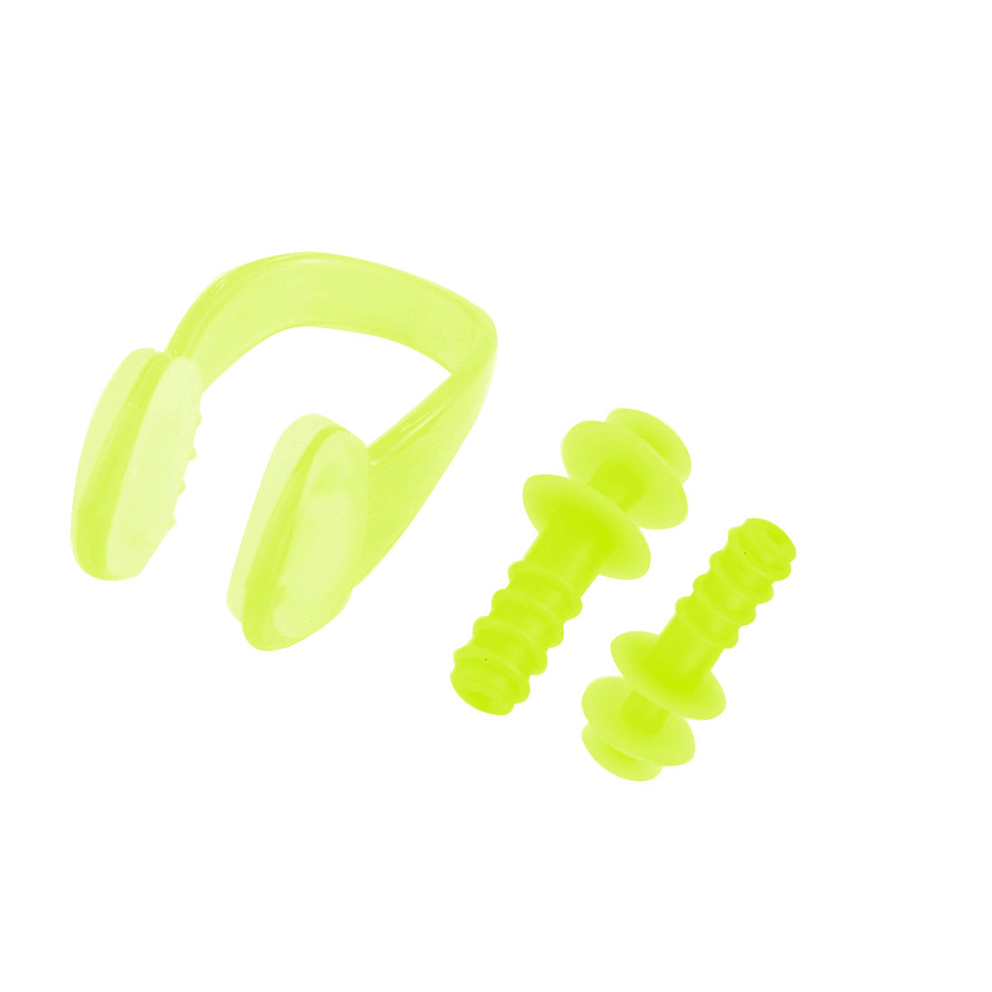Outdoor Swimming Set Yellow Green Nose Clip Earplugs w Plastic Case