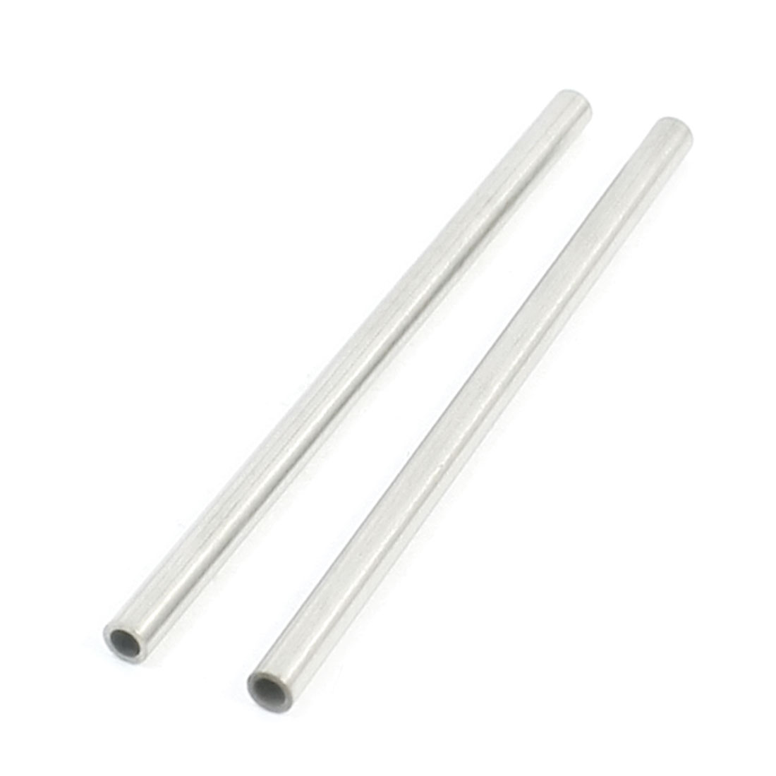 2 Pcs 60mm x 3mm x 2mm Silver Tone Stainless Steel Round Tube Pipe for RC Helicopter Car Model