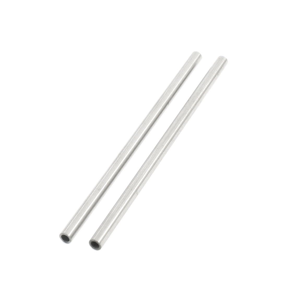 2 Pcs 70mm x 3mm x 2mm Stainless Steel Round Pipe Tube for DIY Car Helicopter Model Toy