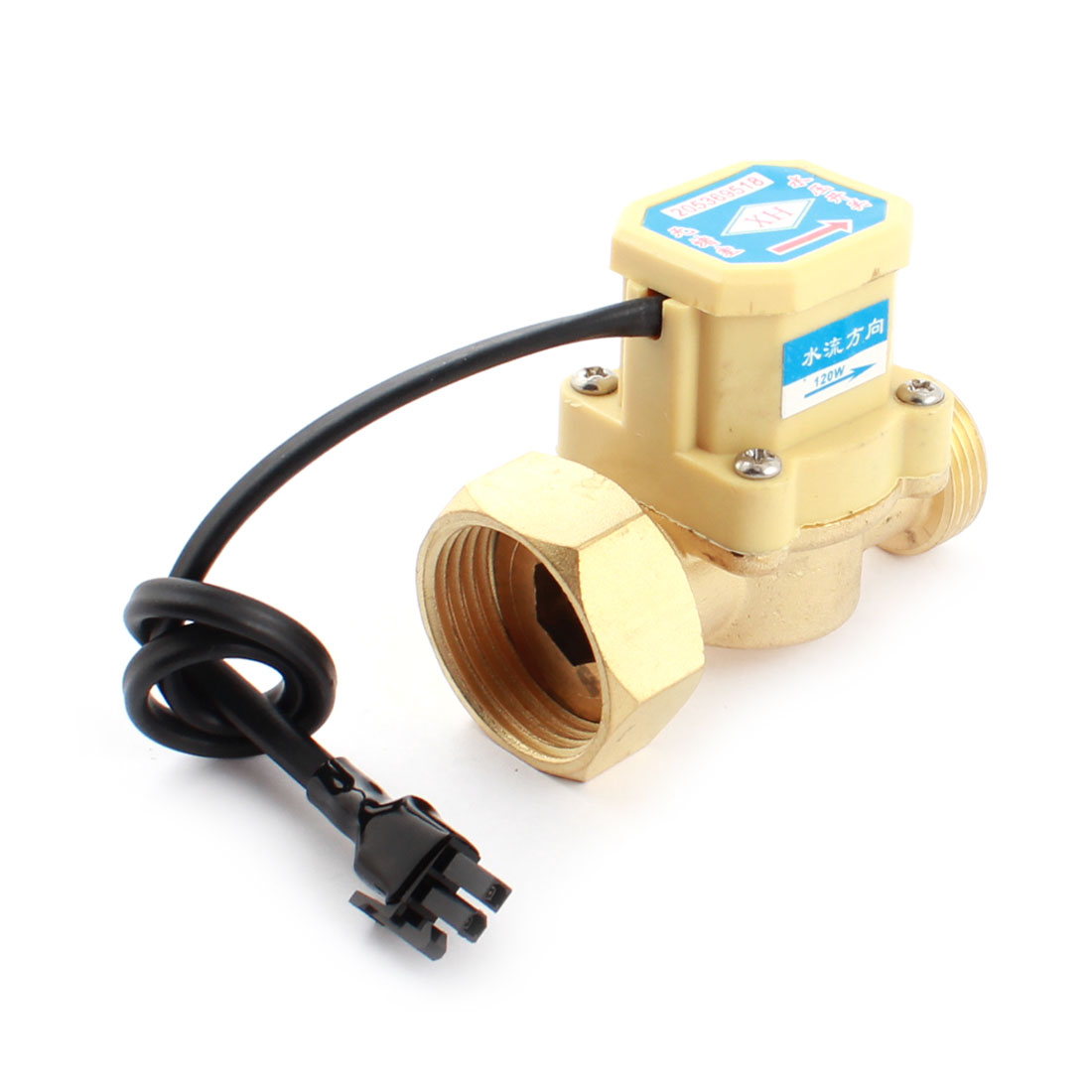 DC5-18V 120W 3/4PT Male to 1PT Female Thread Water Fluid Flow Sensor Control Switch 0.6Mpa 0.75-5L/min
