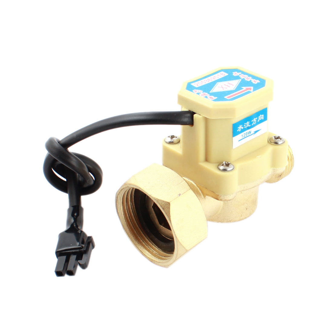 DC5-18V 120W 1/2PT Male to 1PT Female Thread Water Liquid Fluid Flow Sensor Control Switch 0.6Mpa 0.75-5L/min