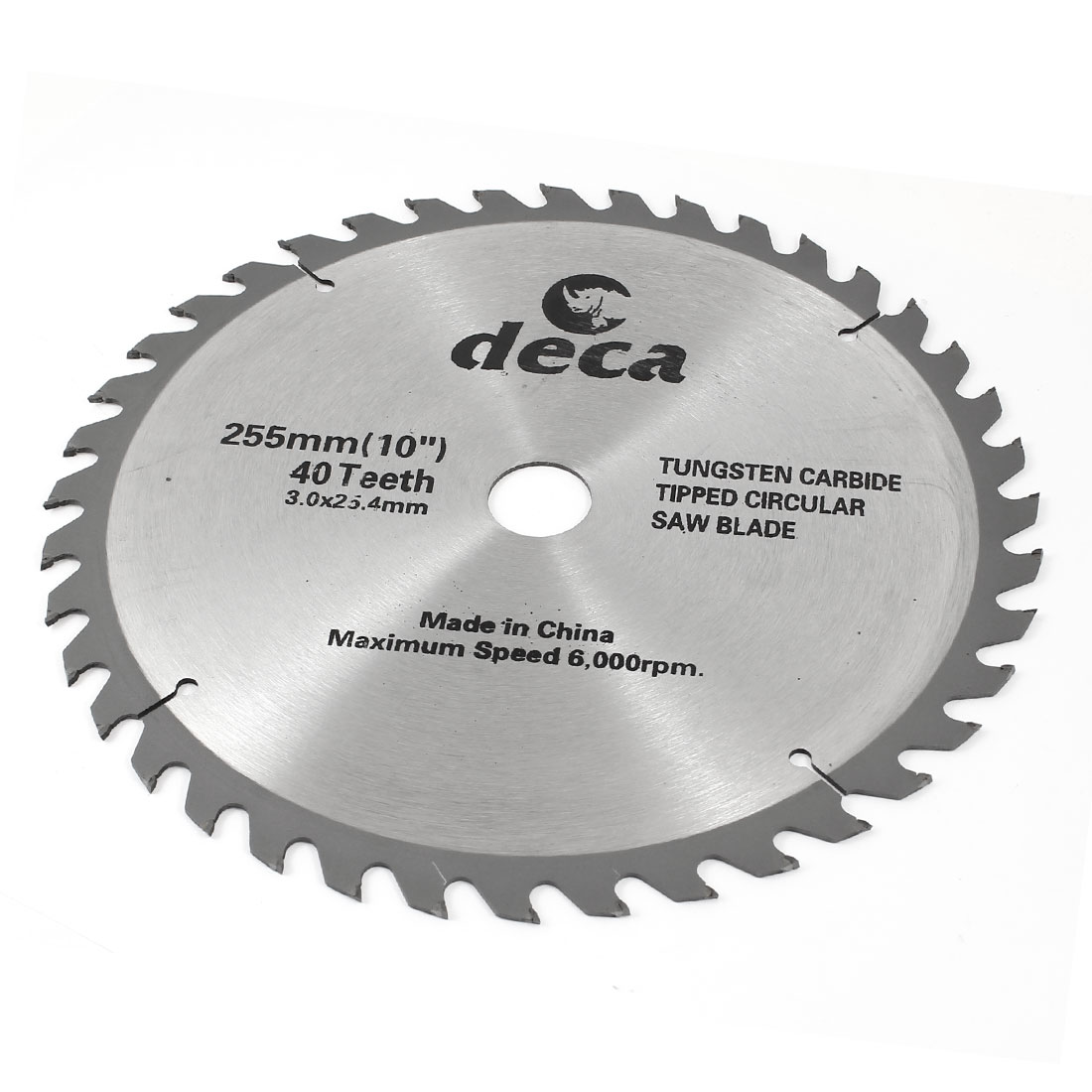 6000RPM Speed 40T 255mm Diameter Saw Cutter Silver Tone for Wood Cutting
