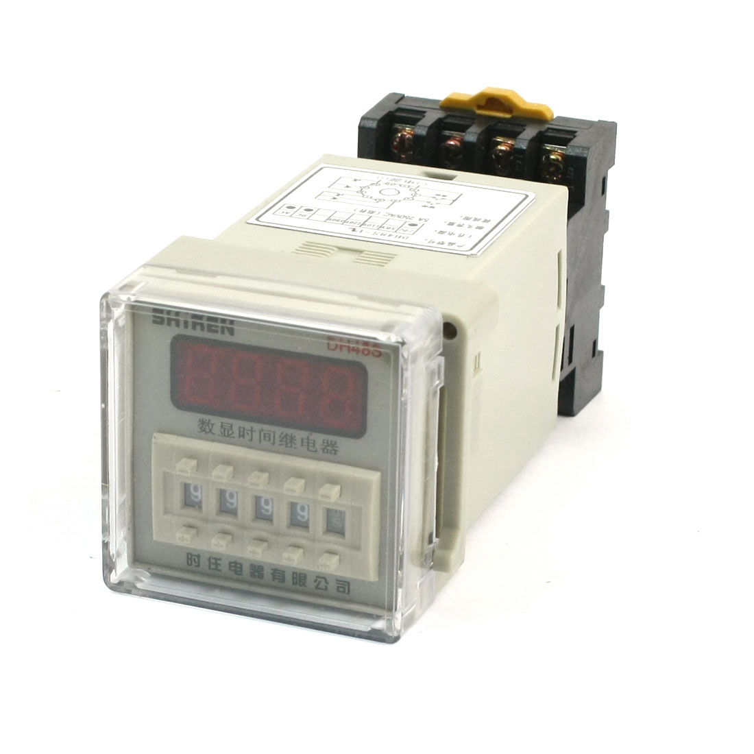 AC/DC 12V 0.01s-9999h 35mm DIN Rail Mount Socket Panel Digit Time Delay Timer