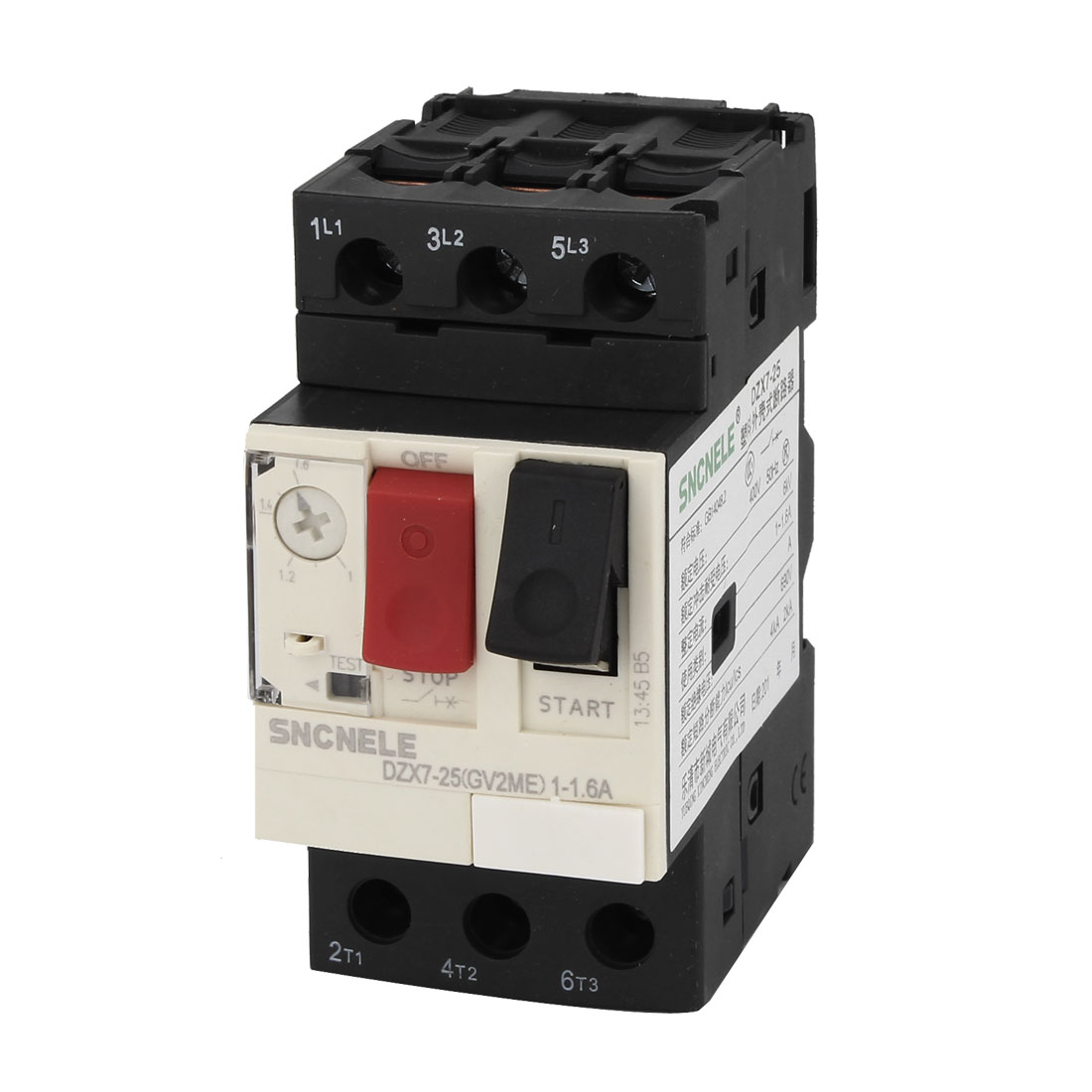 1-1.6A 690V 6KV ON/OFF Button Black Starting NO+NC Motor Circuit Breaker