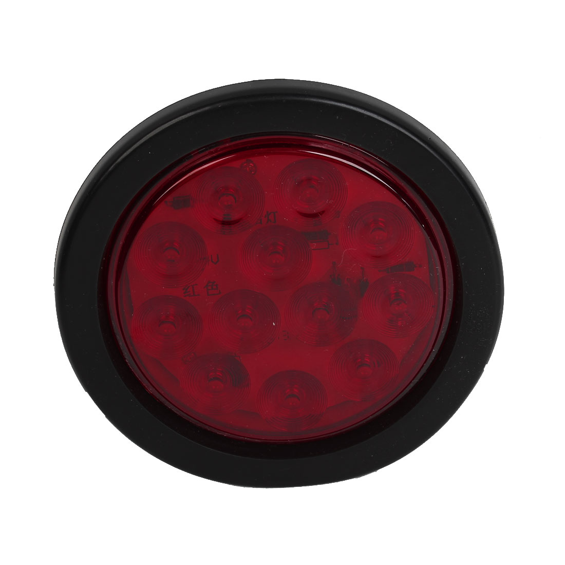 "5.1"" Dia 12 LED Light Round Shaped Rear Stop Tail Lamp Red for Trucks"