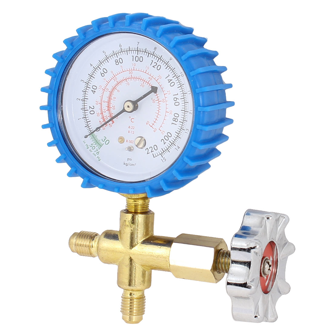 Air Conditioner Blue Shell 3-Way Valve 1/4PT Thread Single Manifold Gauge 220psi