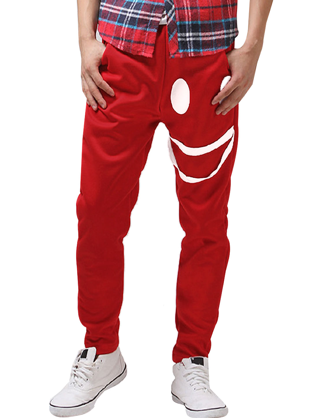Men Hip Pockets Drawstring Smily Face Design Sports Pants Red W28