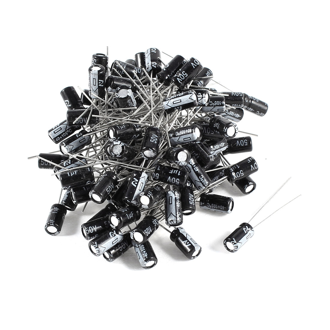 100 Pcs 1uF 50V Radial Leads Aluminum Electrolytic Capacitors 4x11mm