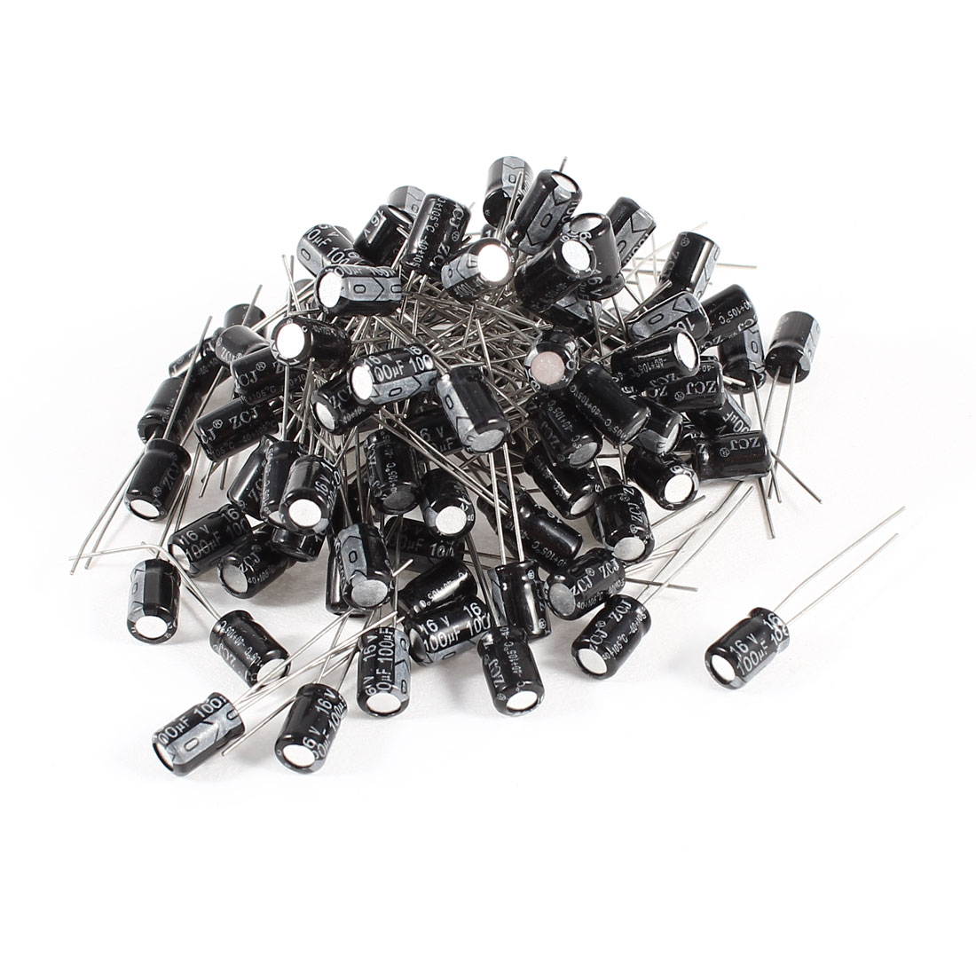 100 Pcs 100uF 16V Radial Leads Aluminum Electrolytic Capacitors 5x7mm
