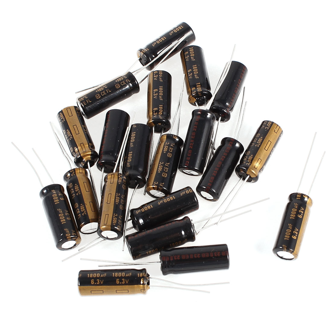 20 Pcs 1800uF 6.3V Radial Leads Aluminum Electrolytic Capacitors 8x20mm