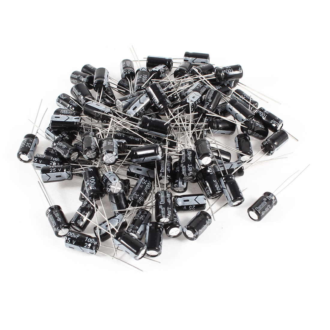 100 Pcs 100uF 25V Radial Leads Aluminum Electrolytic Capacitors 6x11mm