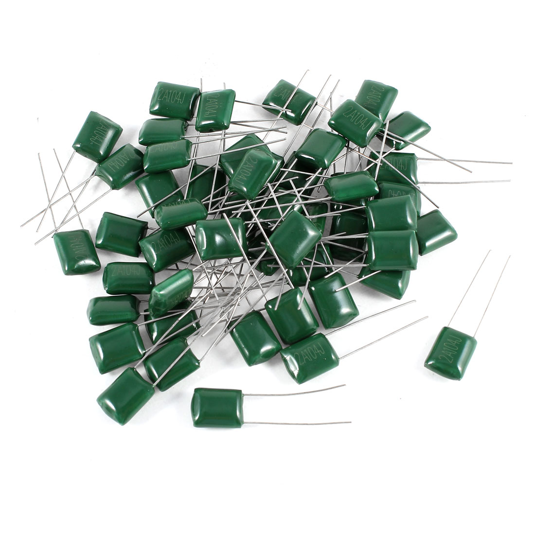 50 Pcs Radial Leads Polyester Film Cap Capacitance Capacitors Green 2A104J 100V 100nF 5%