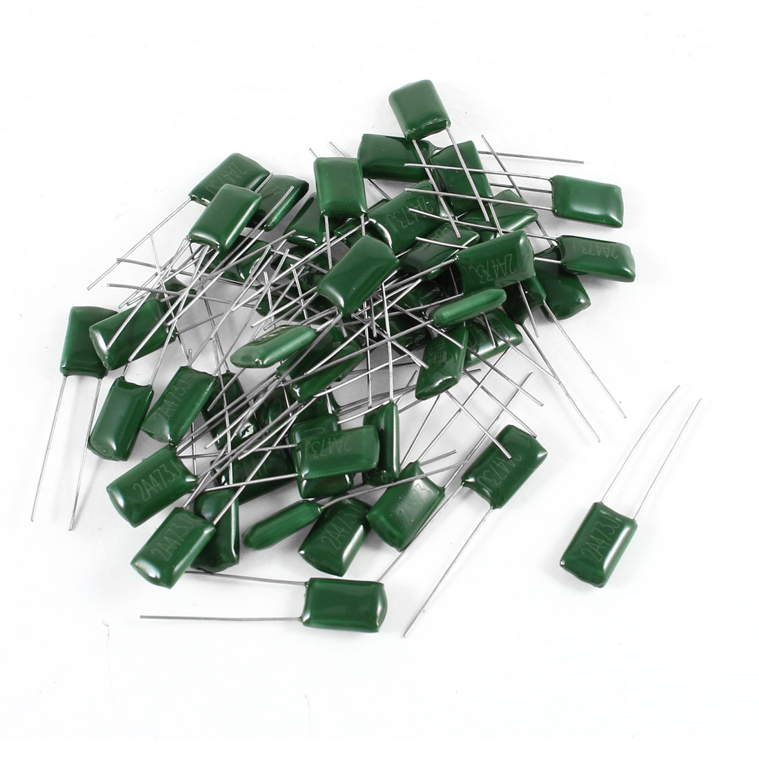 50 Pcs Radial Leads Polyester Film Cap Capacitance Capacitors Green 2A473J 100V 47nF 5%