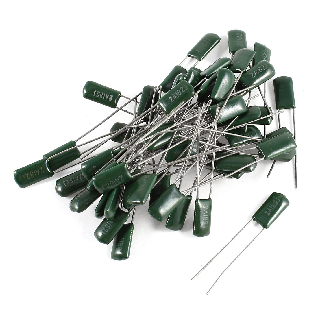 50 Pcs Radial Leads Polyester Film Cap Capacitance Capacitors Green 2A182J 100V 1.8nF 5%